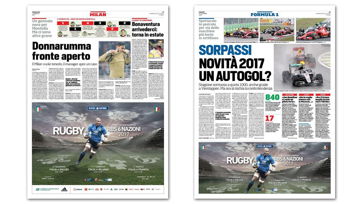 6 Nazioni 2017 - Campagna pubblicitaria - Corriere dello Sport