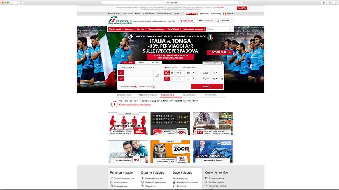 Test Match 2016 - Sito Trenitalia